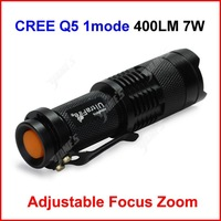 ( 100 pcs/lot ) Mini LED Torch 7W 400LM UltraFire CREE Q5 LED Camp Flashlight Lamp Adjustable Focus Zoom 1 Mode Wholesale