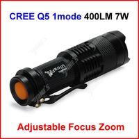 ( 100 pcs/lot ) Mini LED Torch 7W 400LM UltraFire CREE Q5 LED Camp Flashlight Lamp Adjustable Focus Zoom 1 Mode Wholesale