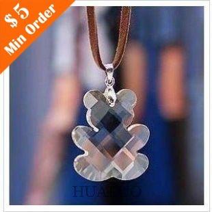 Cute Transparent Teddy Bear Necklace Pendant Wholesale Necklace  N112