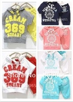 2012 NEW 1sets children short sleeve cream 369 sport shirt pant clothing set Hoodies pants clothesin
