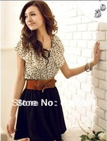 Japan Women's Summer New Fashion Chiffon Short-sleeve Dots Polka Waist Mini Dress (With Belt) free shipping!! 5199