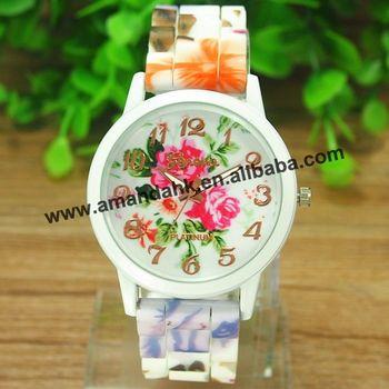 100pcs/lot Romantic Flower Surface Women Watches Charm Ceramics Style Geneva Watches White Dial Women Dress Quartz Watches