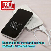 High Quality 5000mAh External Battery Charger Power Bank for iPhone,iPad,galaxy s2,s3 and all USB device Free Shipping