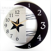 gz031 HOT 1pcs Cartoon fashion European contracted  wrought iron creative moon artistic personality silent wall clock