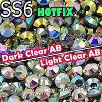 SS6 1.9-2.0mm,1440pcs/Bag Clear white AB Crystal DMC HotFix FlatBack Rhinestones,DIY garment Hot Fix gliters crystals stones