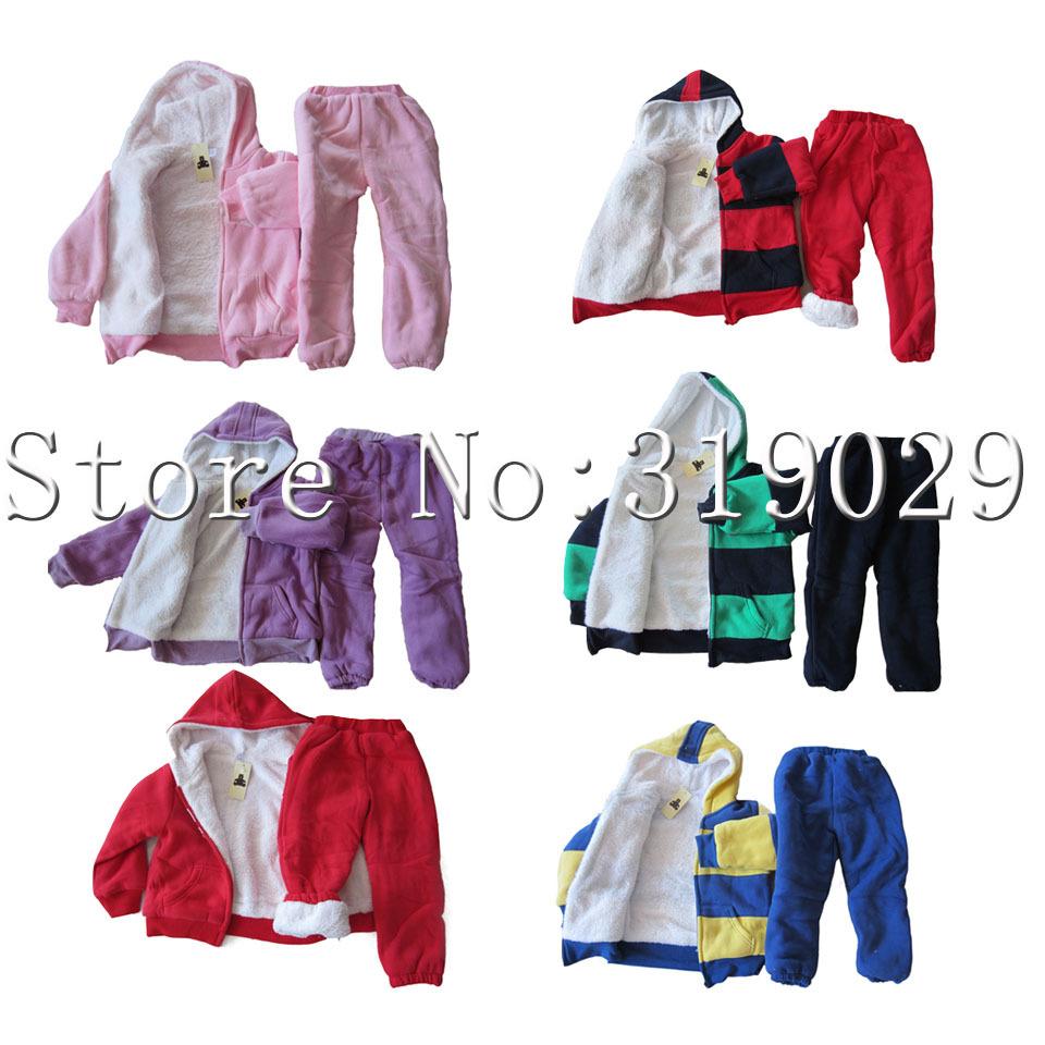 Fashion Winter clothes Kids suits Baby wear 2pcs/set Fur Letters Sport wear Warm costume Children cloth(China (Mainland))