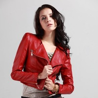 women clothing 2012 PU leather jacket red leather jackets women  FLW077