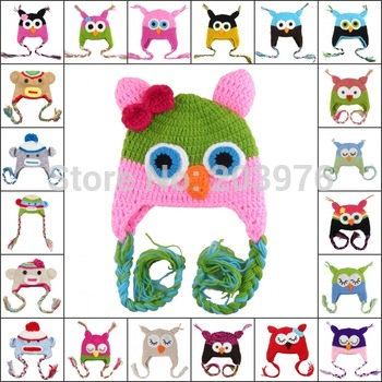 24pcs/lot Animal cute - Handmade knitted knitting wool children Baby Hat owl Woolen cap hat Free shipping