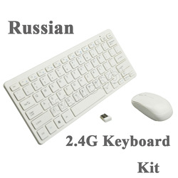 Russian Version Mini 2.4GHz Wireless Keyboard And Mouse Combo With wireless mouse For Computer Laptop(China (Mainland))