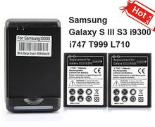 2x 2300 mah batería comerciales + cargador de pared para samsung galaxy s iii s3 i9300 i747 t999 l710(China (Mainland))