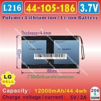 [L216] 3.7V,12000mAH,[44105186]  PLIB (polymer lithium ion battery / LG) Li-ion battery for tablet pc;ONDA V971,V972 quad core