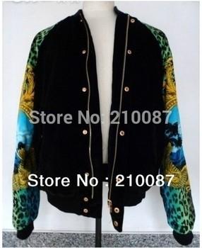 2011 KANYE WEST Colorful mounted retro marine green leopard print jacket