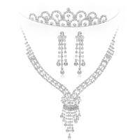 Free Shipping Hot Sale Imitated Diamond Bridal Jewelry Sets Wedding Accessories Tassel Necklace Princess Tiara Long Earrings