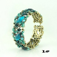 Free shipping Fashion Colorful Marquise Flower Bracelets Bangles Cuff Vintage Women Openable Bangles B003