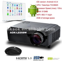 New WiFi  LED Projectror New Video Full HD 1080P Multimedia Beam Projector LED Portable Home Theatre Projectors AOK-LE058W