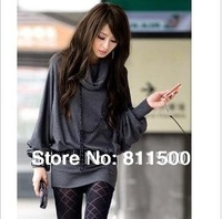 Korean women new autumn high collar bat sleeve sexy package hip long T-shirt dress,lady's tops,alibaba express