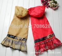 2Color Fashion Pet Dog Raincoat Plaid Skirt Dog Cat Waterproof Poncho Rain Cape Coat Clothes S M L XL Free Shipping