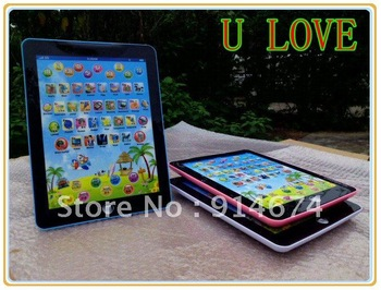 free shippment  50pcs children intelligent learning machine for studying english kids laptop learning with colorful flash