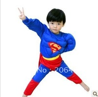 4-8 years Party Kids Comic Marvel superman Superhero Muscle Halloween Costume,boy cosplay clothing free shipping