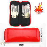 Free shipping 15 pcs BB 100% Goat Hair make up tools kit Cosmetic Beauty Makeup Brush Sets with Leather Case BM0007