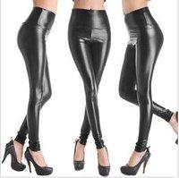 New 2014 Fashion Faux Leather Pants Women Leggings Punk Black High Waist Plus Size Elastic Women's Legging Pant Trousers