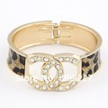 6pcs Free shipping!NEW Fashion Europe Style Statement Leopard Bangle With Crystal Letter Woman&#39;s CC Bracelets Jewelry yst360