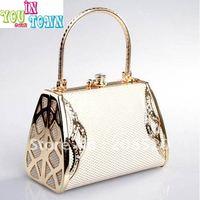 Free shipping/DJ Evening Bags/banquet nightclub bridal evening bags handbag/beige white/golden color JJ36