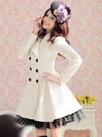 Gorgeous autumn and winter white denim yarn skirt big wool coat 105