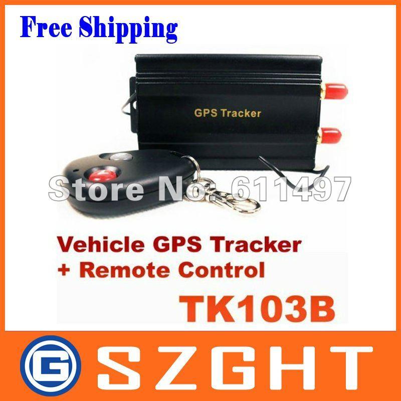 Free Shipping TK103B Car GPS Tracker+ Remote Control +Shock Sensor +Siren Tracker GPS/GSM/GPRS Tracking TK-103B With SD Slot(China (Mainland))