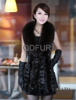 QD21935 Lady Genuine Natural Mink & Fox Fur Vest Gilet Sheep Leather Waistcoat Women's Fur Outerwear