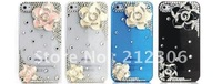 Cell phone case uxurious Diamond crystal  camellia l Cases for iphone 4 4S Hard case