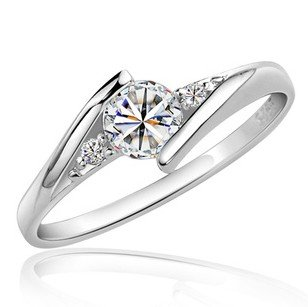 Free shipping MSF bestselling 925 sterling silver & AAA zircon & platinum plated female rings finger wedding ring jewelry