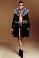 Lady's Genuine Rex Rabbit Fur Coat Jacket With Sliver Fox  Fur Hooded Winter Women Fur Outerwear Coats Overcoat QD22233-1