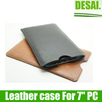 "Free shipping  Brown/black 7"" Leather bag/case for 7inch Tablet PC"