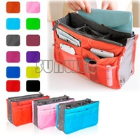 6 Color Nylon Travel Insert Handbag Organiser Purse Large liner Organizer Bag Cosmetic bag free shipping 7907