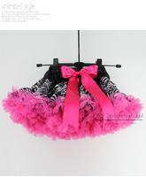 New Year Baby Girl Tutu Skirt Princess Black and Hot Pink Leopard Girl PettiSkirt Discounts Infant Cloth  5PCS/ TS21011-06^^EI