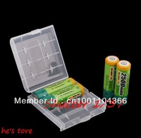 free  2pcs  Wholesale  new Plastic Case Holder Storage Box for AA AAA Battery
