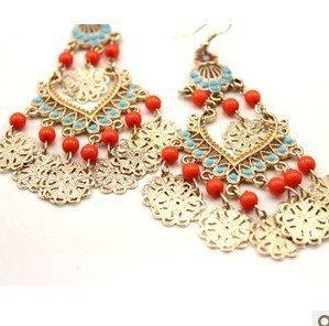# EA015royal vintage cutout gold pearl drop earrings for women wholesale charm jewelry fashion earrings 2013 TS-5.99