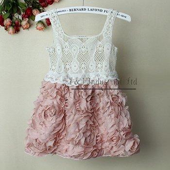 2014 Fashion Baby Girl Dresses Rose Children Pink Lace Flower Dress Princess Kids Desses 5PCS/LOTS GD21020-02^^EI Infant Dresses