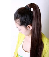 Free Shipping 2013 New Designer Wholesale Price Fashion Style Women 100% Long Straight Horsetail Hair Extensions Ponytail WE512