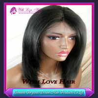 Stock Top Quality 10-24 inch Silky Straight Indian Remy Lace Front & Full Lace Wig Human Hair Wigs Free Shipping