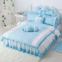 new Lace bedding set hot sale100%cotton 4pcs bedding set king queen size princess rustic bed set quilt cover bed linen wholesale