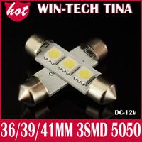 Free shipping 10 pcs/ 39mm 3SMD 5050 Indicator Light Car 3smd 5050 led Automobile Wedge LED Bulbs 3 SMD
