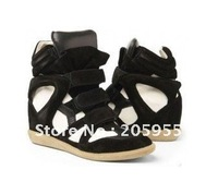 2013 Fashion high top winter Sneakers for Women Isabel Marant Sneakers Shoes Black White color block Suede leather round toe