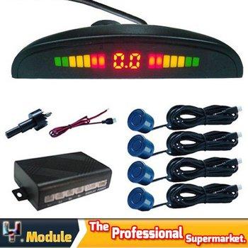 4 car parking radar reverse sensor LED Display Parking Reverse Backup System with Indicator Sound Alarm Silver Wired #I07032