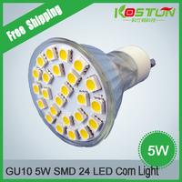 10pcs/lot GU10 5W Corn Spotlight LED Light  Bulb 24 SMD 5050 LED Lamp Promotion Low Carbon Free Shipping
