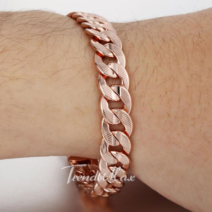 10MM MENS BOYS Chain HAMMERED CURB Bracelet Lobster Clasp 18K ROSE Gold Filled Bracelet 18KGF Customize