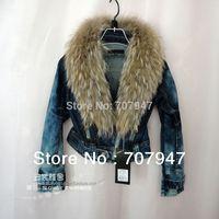 Free shipping 2014 Fashion motorcycle jeans jacket Natural raccoon fur collar short denim jacket plus size denim top