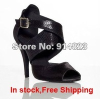 In stock cdso10200  lady's ballroom/Black latin dance shoes, women Samba, Salsa, ChaChaCha, Rumba heel 8.5/7.5cm  free shipping