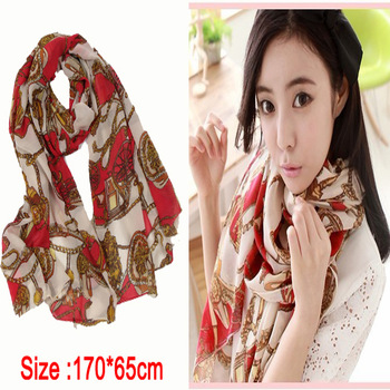 2013 Fashion Hot Sale Women Long Chain Pattern Polyester Silk Scarf,165*70cm Coffee New Design Chiffon Scarf Printed